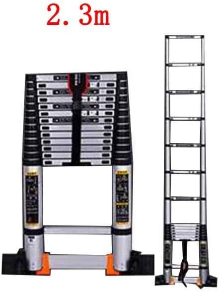 ZPWSNH Escalera telescópica hogar bambú Interior ingeniería sección de bambú Plegable de una Cara Escalera de aleación de Aluminio Taburete (Size : 2.3m): Amazon.es: Hogar