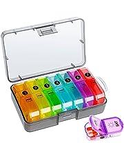 Tablettenbox 7 dagen 2 vakken draagbare pillendoos met aparte vakken vochtbestendige medicijnbox wekelijkse tabletdoos voor medicijnen en vitaminen