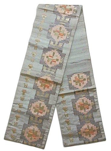 プログレッシブ算術囲いリサイクル 袋帯 紬 幾何学模様 正絹 六通