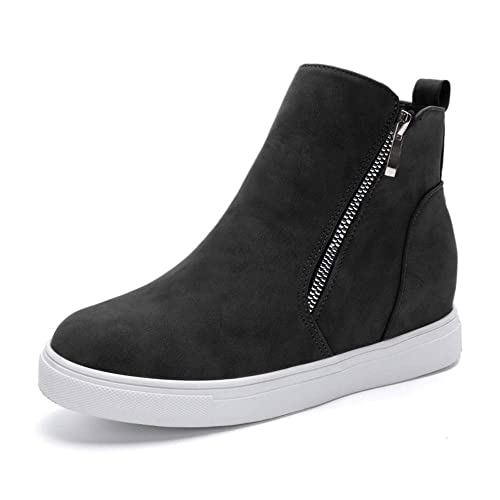 af9f0d3415386 VANDIMI Wedge Sneakers for Women Fashion High Top Hidden Heel Shoes Casual  Side Zipper Platform Ankle Boots