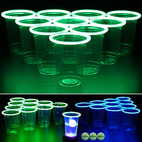 (GLOWPONG Green vs Blue Glow-in-The-Dark Beer Pong Game Set for Indoor Outdoor Nighttime Competitive Fun, 12 Green vs 12 Blue Glowing Cups, 4 Glowing Balls, 1 Ball Charging Unit Makes)