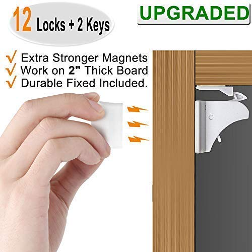 Baby Proofing Magnetic Cabinet Locks Child Safety - VMAISI 12 Pack Children Proof Cupboard Baby Latches - Adhesive Magnet Drawers Locks No Drilling