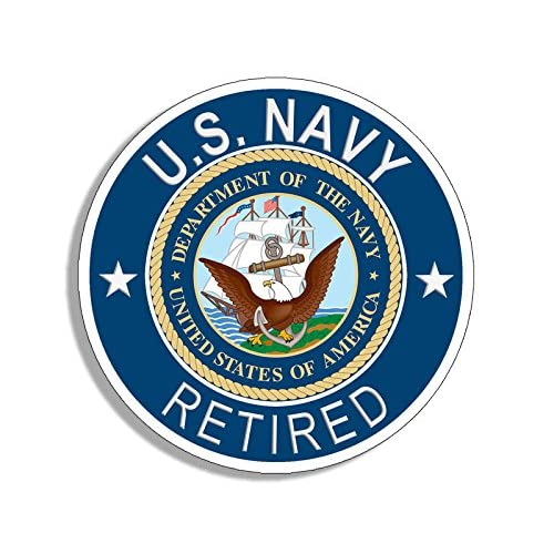 American Vinyl Round U.S. Navy Retired Sticker (Naval Bumper Vet Veteran USS) for cheap