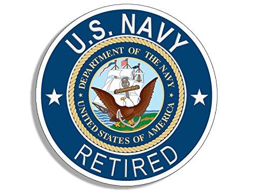 - Round U.S. Navy Retired Sticker (Naval Vet Veteran Bumper USS us ret)