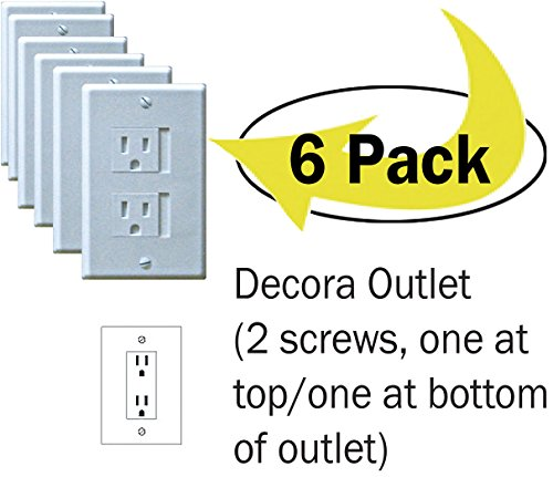 6-Pack Safety Innovations Self-closing (2 Screw) Decora Outlet Covers- An Alternative To Wall Socket Plugs for Child Proofing Outlets  (White) ()