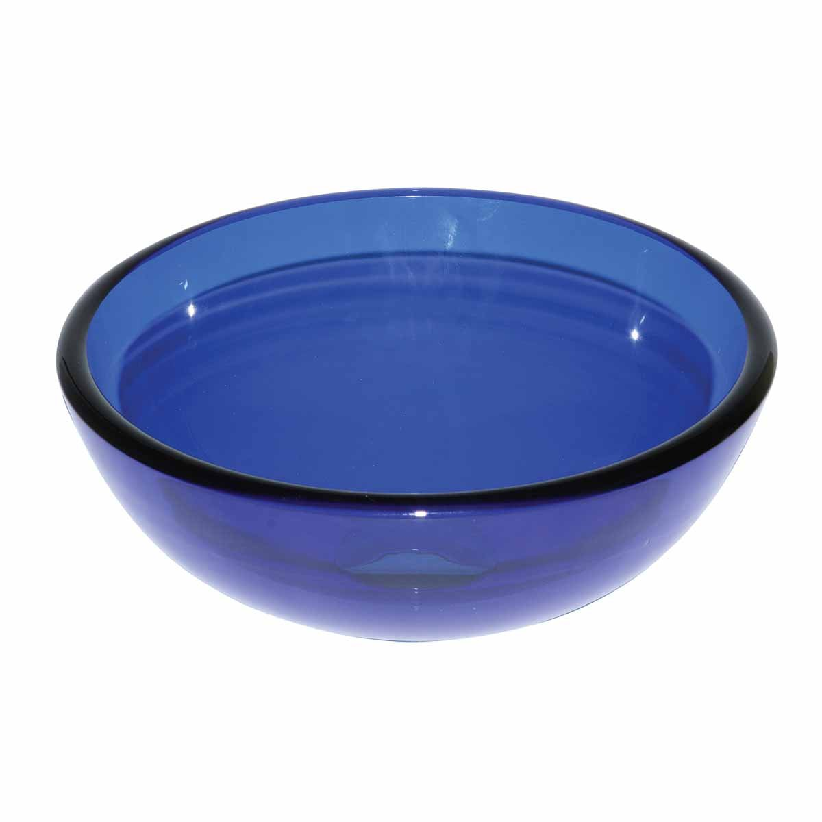 Blue Glass Vessel Sink With Drain, Mounting Ring, Tempered Glass Mini Bowl Sink | Renovator