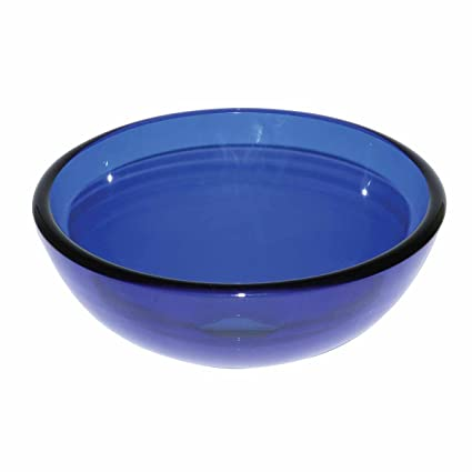 Blue Glass Vessel Sink With Drain, Mounting Ring, Tempered Glass Mini Bowl  Sink |