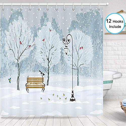 JAWO Forest Shower Curtain for Bathroom, Snow Falling in The Park on a Cold Winter Day Birds Lanterns Xmas Season Picture Bathroom Decor, Fabric Shower Curtain Hooks Include, 70 in (In Forest Snow)