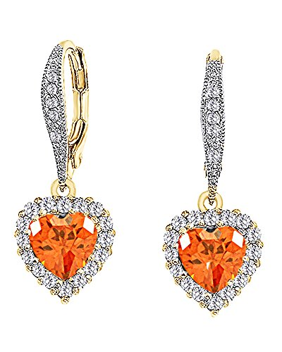 (Simulated Citrine Heart Dangle Leverback Earrings 14K Yellow Gold Over Sterling Silver)
