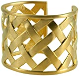 Kenneth Jay Lane Gold Basket Weave Cuff Bracelet Bangle