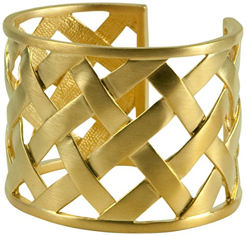 (Kenneth Jay Lane Gold Basket Weave Cuff Bracelet Bangle )