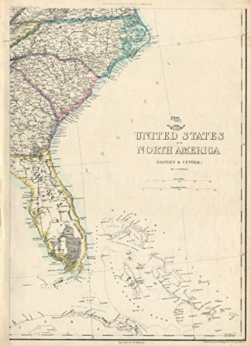 Southeast Florida Maps - USA SOUTH EAST. Florida Georgia Carolina coast Bahamas. ETTLING - 1863 - old map - antique map - vintage map - USA maps