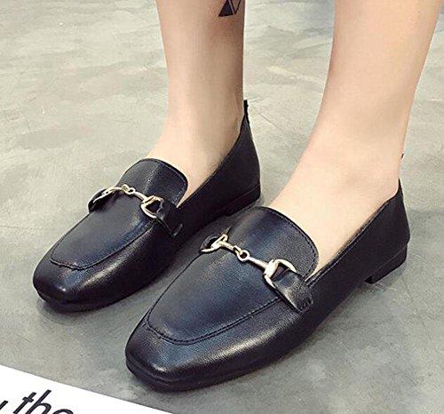 UK5 cuadrados planos 5 Zapatos 2 KUKI CN38 US7 hebilla zapatos 5 negros negra EU38 de salvaje 1SgOxwnOq