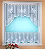 Curtain High Quality Jacquard Net Curtain, C-shaped arc, 2-piece set with Tulip Design in Pure White. Proven quality - unpack, hand up, done!Bistro TYP317
