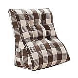 Lumbar Pillow Cailin, Triangle Window Cushion, Lumbar Cushion, Tatami Waist Pad, Soft Bag, Imitation Linen Fabric, Cross Lattice, Brown (Size : 453055cm)