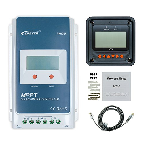 EPEVER Solar Charge Controller 30A MPPT Tracer3210A Solar Controller + Remote Meter MT-50 with LCD Display for Solar Power Battery Charging System (30A + MT50) by EPever