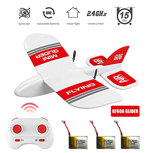 - KF606 Mini Glider 2.4Ghz RC Airplane Flying Aircraft Toy Built-in Gyro 3 Replaceable Batteries 45 Minutes Indoor Outdoor Flight Time EPP Foam Plane Gifts Child's Paper Plane (KF606 Glider + 3 Battery)