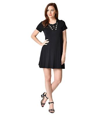 c2915e53d375 Image Unavailable. Image not available for. Color: Unique Vintage 1970s  Style Black Short Sleeve Lace Up Knit Shift Dress