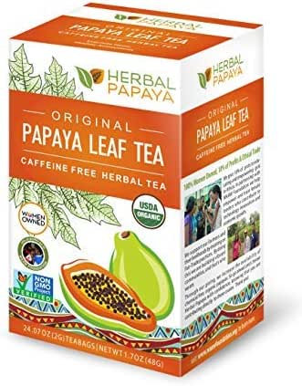 Papaya Leaf Tea - Natural Blood Platelet Health, Immune Gut & Digestive Enzymes - 100% USDA Organic, Non-GMO Project Verified, Gluten-Free, Kosher - 24/2g Teabags - Made in USA by Herbal Goodness