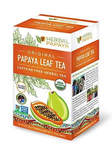 (Papaya Leaf Tea - Natural Blood Platelet Health, Immune Gut & Digestive Enzymes - 100% USDA Organic, Non-GMO Project Verified, Gluten-Free, Kosher - 24/2g Teabags - Made in USA by Herbal Goodness)