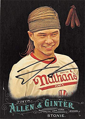 Matt Stonie autographed trading card (Hot Dog Eating Champion, SC) 2018 Topps Allen & Ginters Black #107