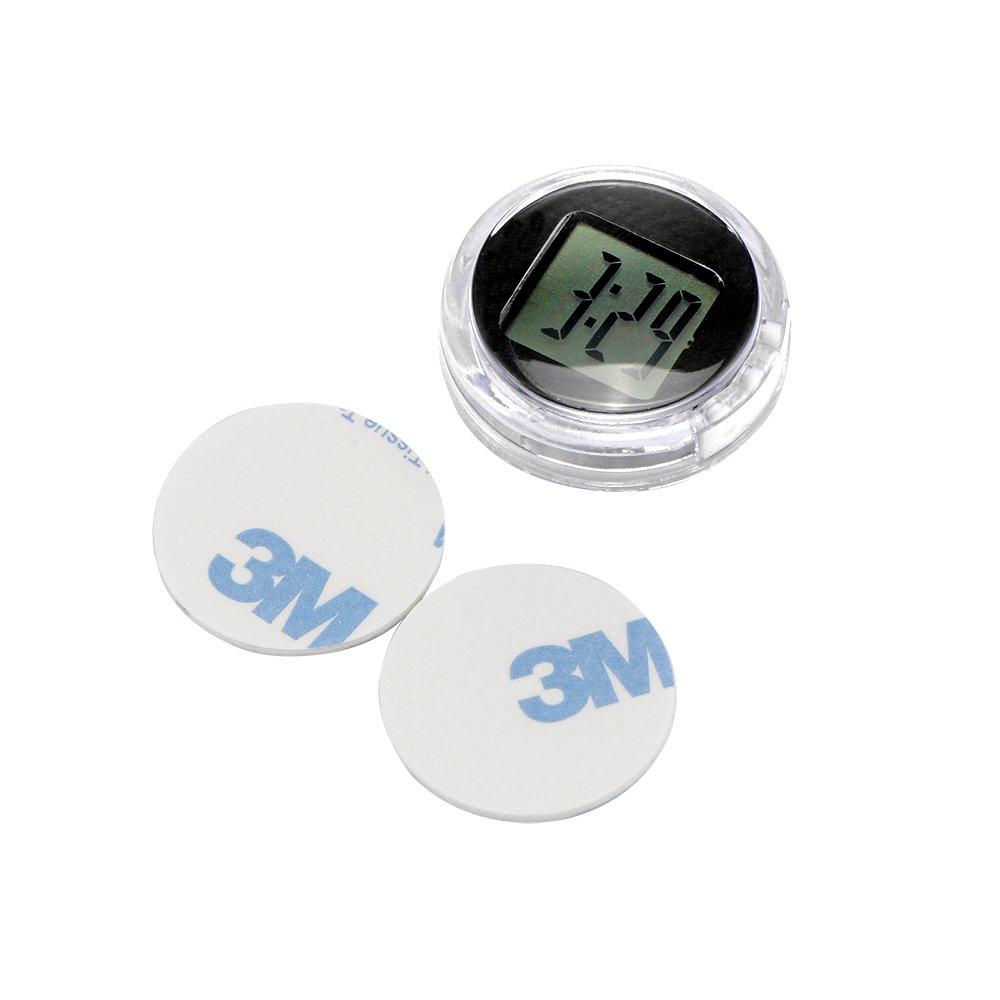 OurLeeme Mini Impermeable Stick-On Reloj de la Motocicleta Reloj de la Motocicleta Reloj Digital