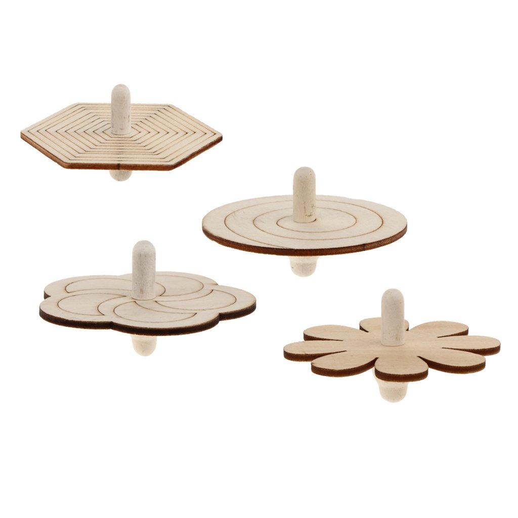 MagiDeal 4er Set Holz Kreisel zum Bemalen Basteln Holzkreisel Set Spielzeugkreisel