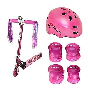 Bundle of 3 includes: Pink Girls Razor A Kick Scooter, Elbow and Knee Pad Set, Sport Helmet