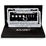 AILUKI Bling License Plate Frame, 2 Pack Bling White Crystal License Plate Frames with 2 Holes Bonus Screw Caps,Car License Plate Covers for US Vehicles/Truck