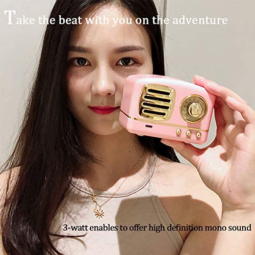 Dosmix Wireless Stereo Retro Speakers, Portable Bluetooth Vintage Speakers with Powerful Sound, Answering Calls, Alexa Support, TF Card, AUX for Kitchen Bedrooms Party Outdoor Android iOS Pink 51VDKzec9IL