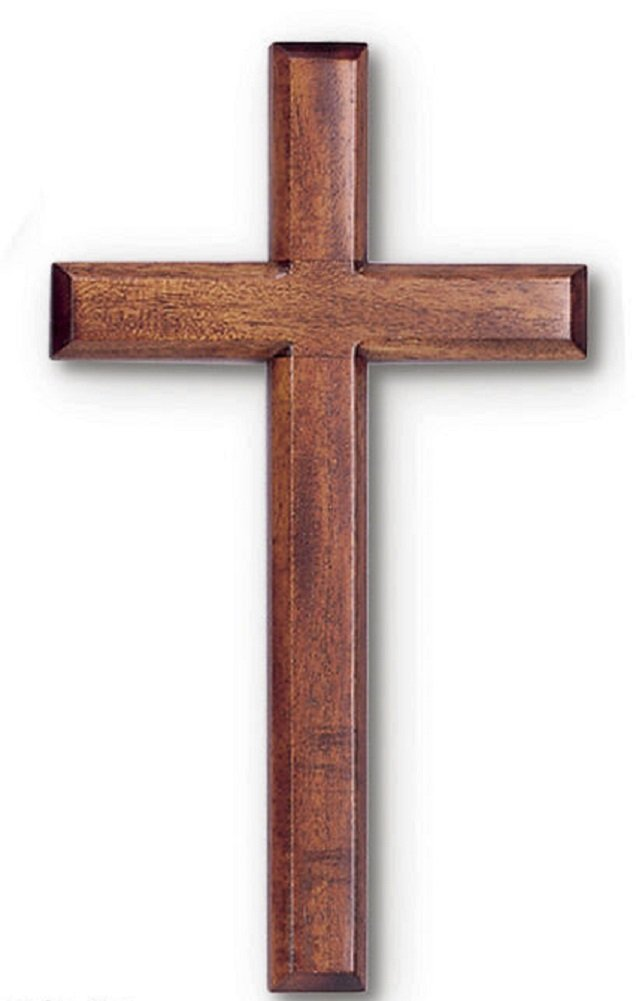 Wall Cross 3 X 6 in Mahogany Dark Wood Polybagged Pre-drilled Hole
