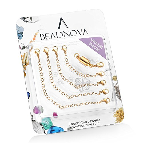 Gold Plated Magnetic Clasp - BEADNOVA Stainless Steel Necklace Extender Bracelet Extender Chain Set 4pcs (3, 4, 5, 6 Inches) with 1pc Magic Magnetic Clever Clasp, Gold Plated Color