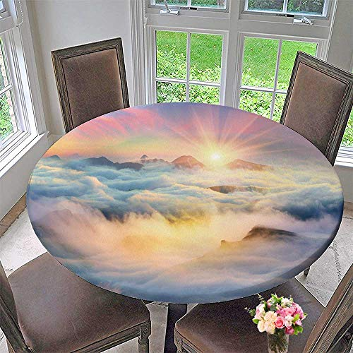 """PINAFORE HOME Round Fitted Tablecloth at Dawn After a Warm rain ridges chornogory Haze enveloped with Rays for All Occasions 55""""-59"""" Round (Elastic Edge)"""