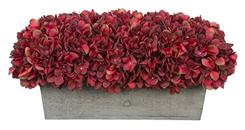 House of Silk Flowers Artificial Hydrangeas in Grey-Washed Wood Ledge (Burgundy) For Sale