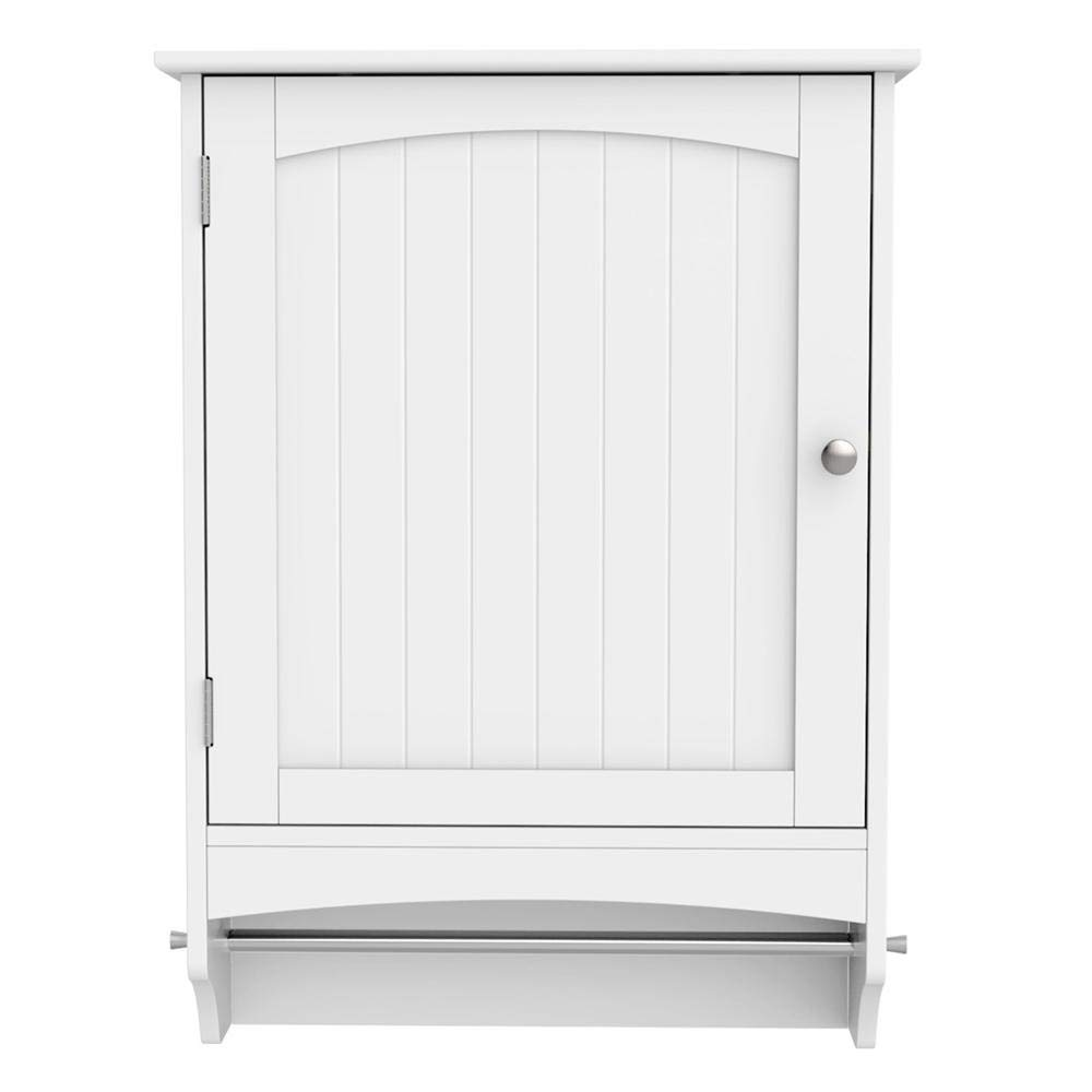 Yaheetech Medicine Cupboard, Hanging Bathroom Storage with Height Adjustable Shelf and Rod – White 18.9 x 6.3 x25.8 Inches