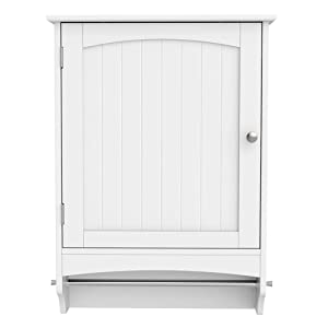 Yaheetech Medicine Cupboard, Hanging Bathroom Storage with Height Adjustable Shelf and Rod - White 18.9 x 6.3 x25.8 Inches