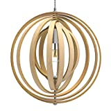 Tomons Nordic Style Hollow Wood Ceiling Pendant Lights For Kitchen Island, Adjustable Round-shaped Frame Lampshade, Package Included One 8W LED Bulb