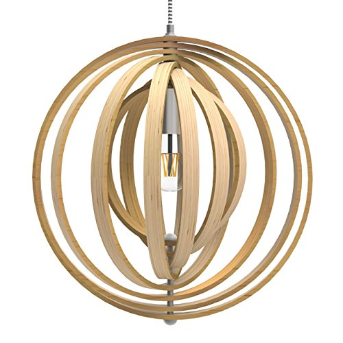 Round Wood Pendant Light in Florida - 1