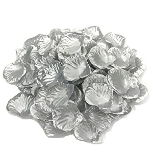 DALAMODA 1000pcs Silk Rose Petals Bouquet Artificial Flower Wedding Party Aisle Decor Tabl Scatters Confett (Silver) 85