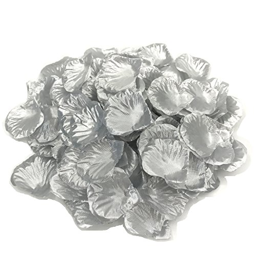DALAMODA 1000pcs Silk Rose Petals Bouquet Artificial Flower Wedding Party Aisle Decor Tabl Scatters Confett (Silver)