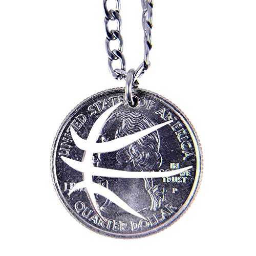 Marycrafts Hand Cut Quarter Coin Basketball Necklace Sport Jewelry 22in