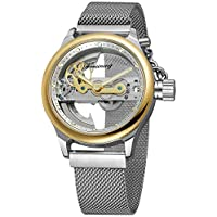 Unique Mens Automatic Watch Transparent Watch Dial Hollow Skeleton Silver Tone Mesh Band Watch (Gold White)