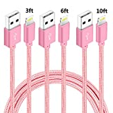 6 feet long iphone 6 charger - iPhone Charger,NANMING 3Pack 3FT 6FT 10FT Extra Long Nylon Braided Charging Cable Cord Lightning to USB Cable for iPhoneX/8Plus /7/ 7Plus/6/6s/6 plus/6s plus,5/5s/5c,iPad,iPod (Rose+Gold)