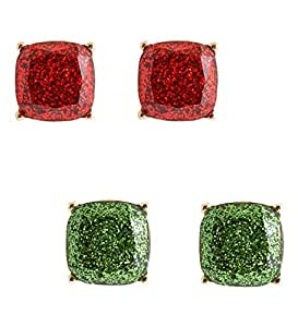 NLCAC Glitter Earrings Studs 2 Pairs of Set Square Sparkle Pierced Studs for Women