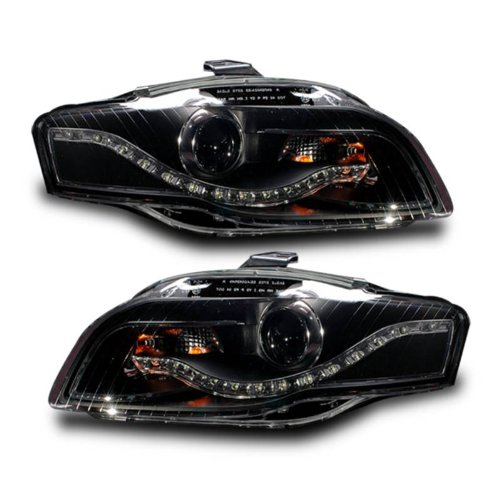 SPPC Projector Headlights Assembly Black (R8 Led Style) For Audi A4 - (Pair) Includes Driver Left and Passenger Right Replacement Headlamps Clear (R8 Style Projector Headlights)