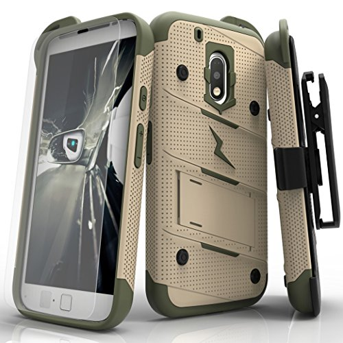 Motorola G4 Play Case, Zizo [Bolt Series] w/ [Motorola G4 Play Screen Protector] Kickstand [12 ft. Military Grade Drop Tested] Holster Clip - G4 Play