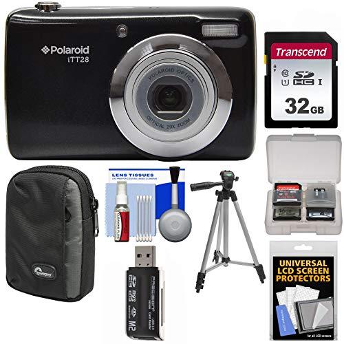 Polaroid iTT28 20MP 20x Zoom Digital Camera (Black) with 32GB Card + Case + Tripod + Kit
