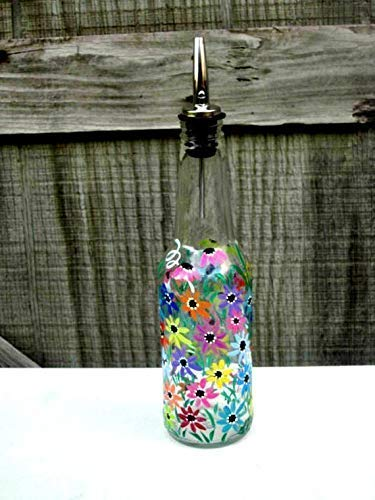 Dish Soap Dispenser, Recycled Clear Beer Bottle, Painted Glass, Oil and Vinegar Bottle, Colorful Flowers, 8 X 2 3/4