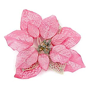 """Riverbyland 9"""" Poinsettia Flower Christmas Tree Ornament Pink 6 Pcs 94"""