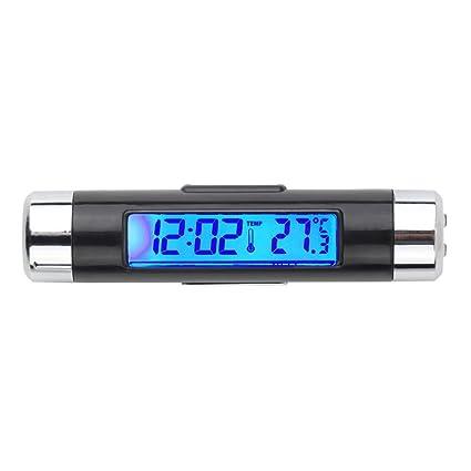 GerTong - Reloj Digital con Pantalla LCD para Coche (retroiluminación, termómetro, Calendario)